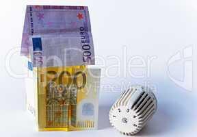 Thermostat, Banknoten, Geldschein, Heizkosten
