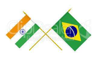 Flags, Brazil and India