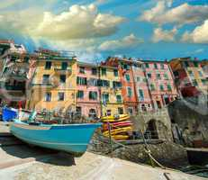 Cinque Terre. Beautiful view of the port with boats and colourfu