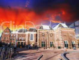 Amsterdam, Netherlands. Beautiful classic buildings with colourf