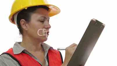 Woman Construction Worker Clipboard Marking