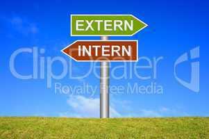 Schild Wegweiser: Intern / Extern