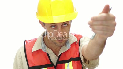 Male Tradesman Boss Hand Signal