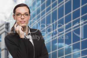 Confident Attractive Mixed Race Woman in Front of Corporate Buil