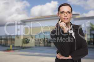 Woman In Front of Commercial Building
