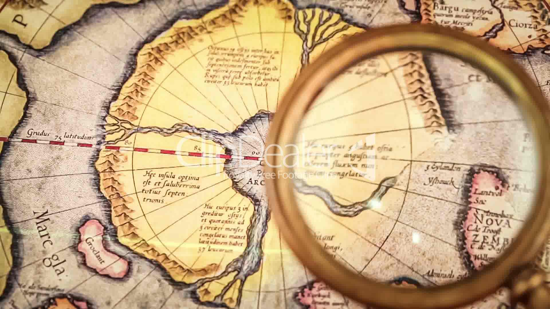 Vintage Magnifying Glass Lies On The Ancient Map Of The