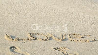 Love written on sand