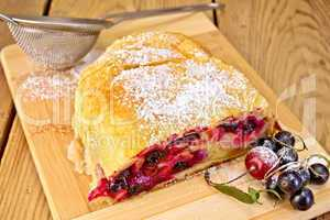 Strudel with black currants on board