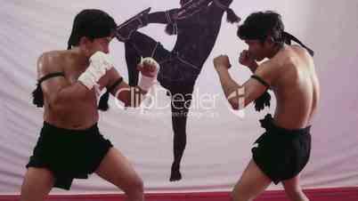 13of20 Asian men fighting, kickboxing fight, combat sport duel, ring