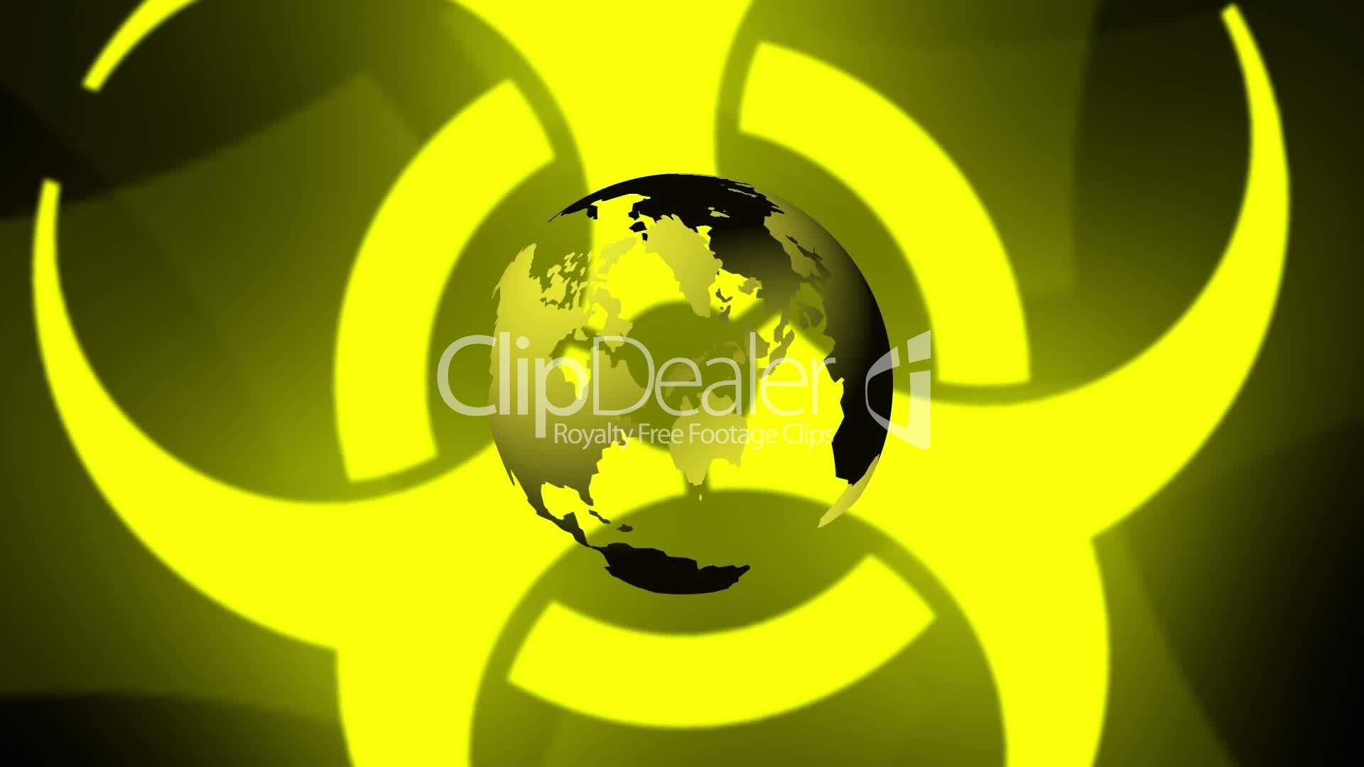 Pulsing Biohazard Symbol With Earth Royalty Free Video And Stock