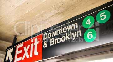 Downtown & Brooklyn subway sign, New York