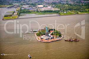 Aerial view of Liberty Island, New York City