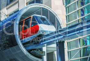 SYDNEY, AUSTRALIA - JULY 10: A monorail train exits from station