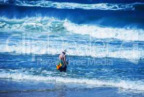 Fisherman enjoying seascape