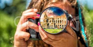 Colosseum in Rome from the eyes of a little girl