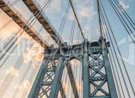 Manhattan Bridge pylon and metal cables, New York