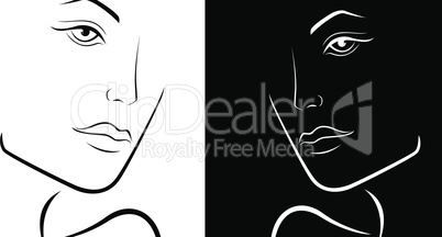 Black and White stylized female heads