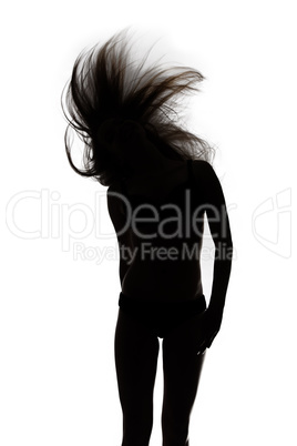 Shape of dancing girl with waving hair