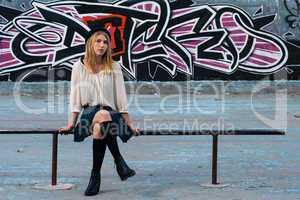 sitting school girl