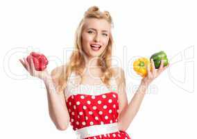 Frau mit Paprikagemüse