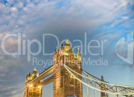 London. Stunning view of Tower Bridge with sunset lights