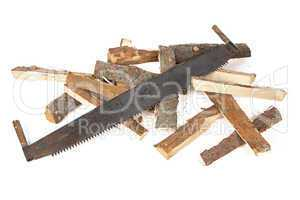 Photo of handsaw and woods