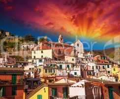 Quaint Village of Vernazza, Cinque Terre. Beautiful colorful hom