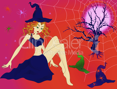 Halloween girl in sinister moonlight night
