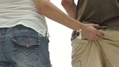 Woman Squeezing Man Bum
