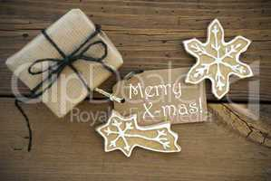 Merry X-mas on a Label with Christmas Decoration