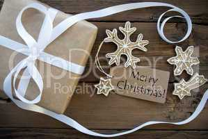 Merry Christmas Greetings with Gift and Cookies