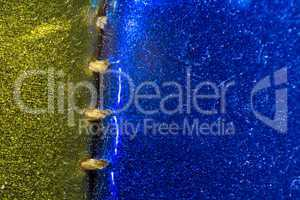 Photo of blue and gold surface