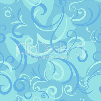 blue seamless with swirl and petal for textile background