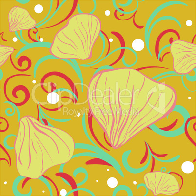 yellow siamles with flower petal and swirl for textile background .eps