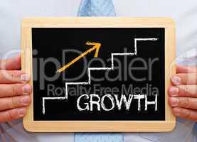 Growth - Businessman with Chalkboard