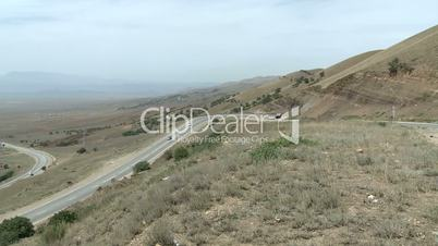 Road with cars in the mountainous region of Dagestan