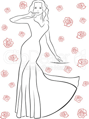 Nice woman in a long dress among roses