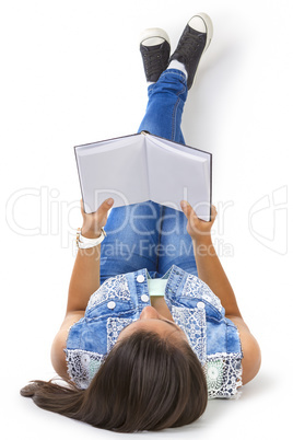 teenager girl reading book isolated over white background