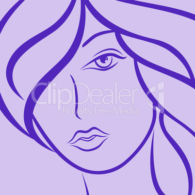 Female laconic heads outline in violet
