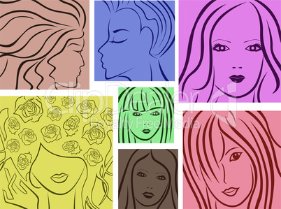 Seven abstract colored young women portraits