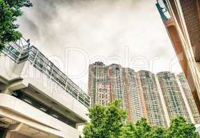MACAU - MAY 10, 2014: City buildings and palms on a beautiful da