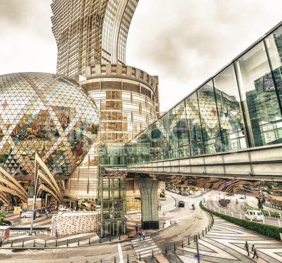 MACAU - MAY 10: The Grand Lisboa, Hotel and casino, is seen on M