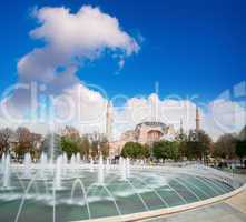 Hagia Sophia with Sultanahmet Square fountain. Istanbul, Turkey