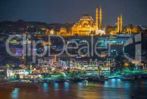 ISTANBUL - SEPTEMBER 17, 2014: City night panorama. Istanbul is