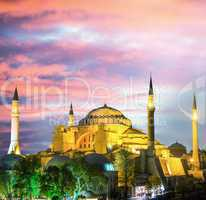 Hagia Sophia Church illuminated at dusk, Istanbul