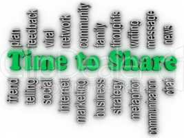 3d imagen Time to Share issues concept word cloud background