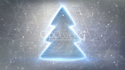 christmas tree neon glowing on metal loop background