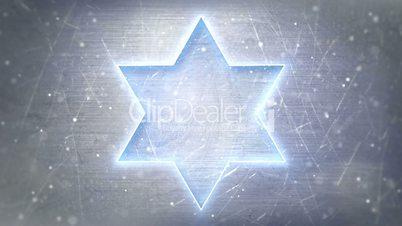 Star of David neon glowing on metal loop background
