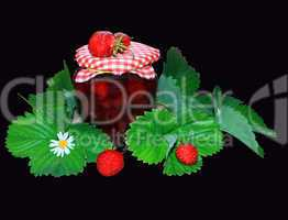 jar with strawberry jam and green leaves on the black