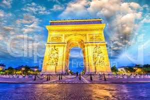 Triumph Arc at night in Paris